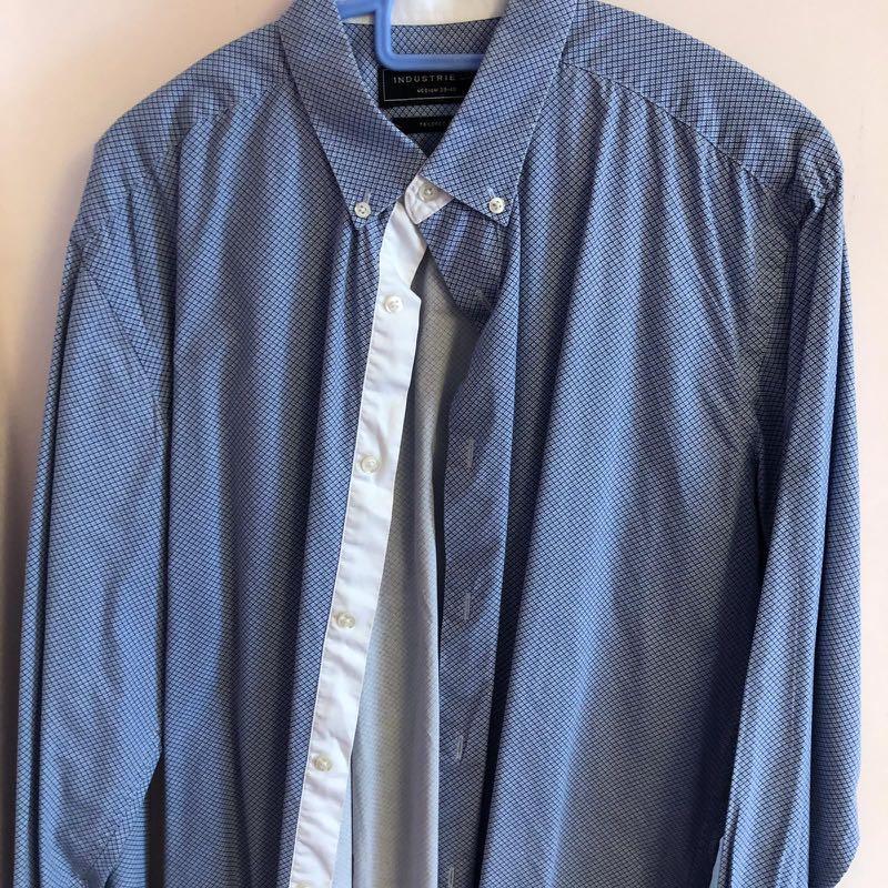 Men Work Formal Shirt Aus Industries L Size Blue Navy Sky $5