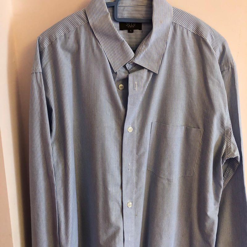 Men Work Formal Shirt Stripe Seed L Size Grey $5