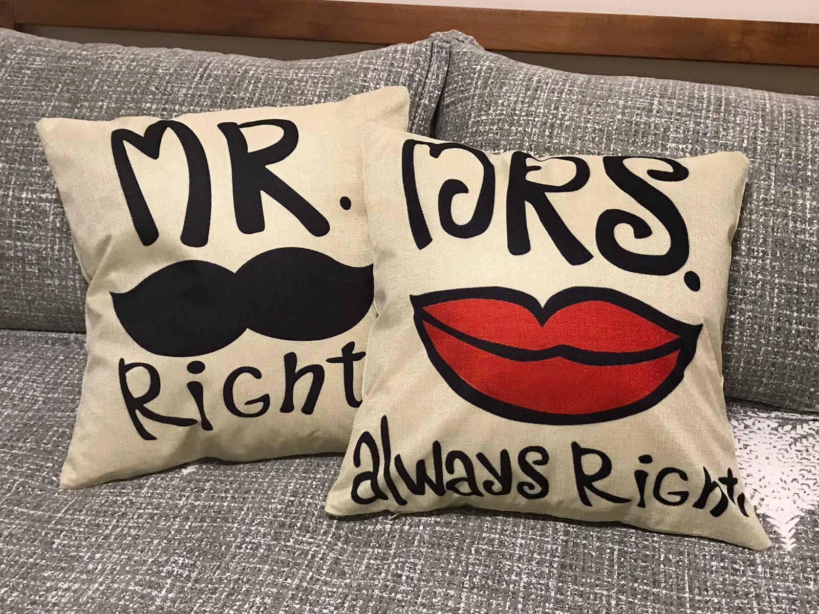 """Mr & Mrs Pair Series"" Linen Cushion Cover (SDJ-018/19)"