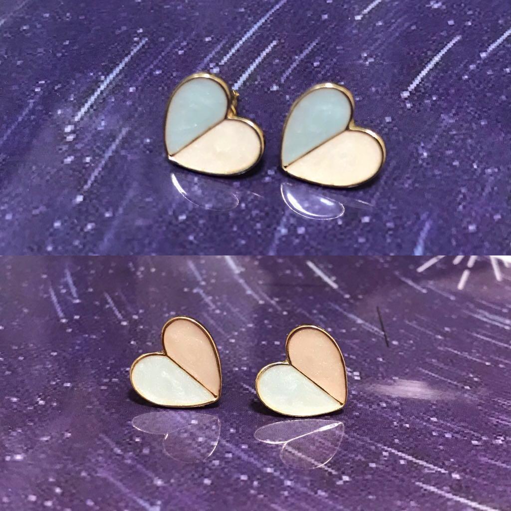 糖果色心形耳環(主色:藍色n白色)