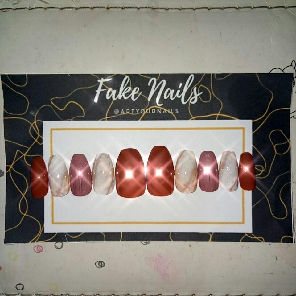 Handmade nail decals / kuku palsu / fake nails custom siap pakai