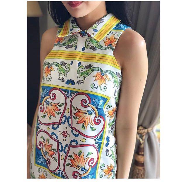 (NEW) Printed D&G Mallorca Midi Dress