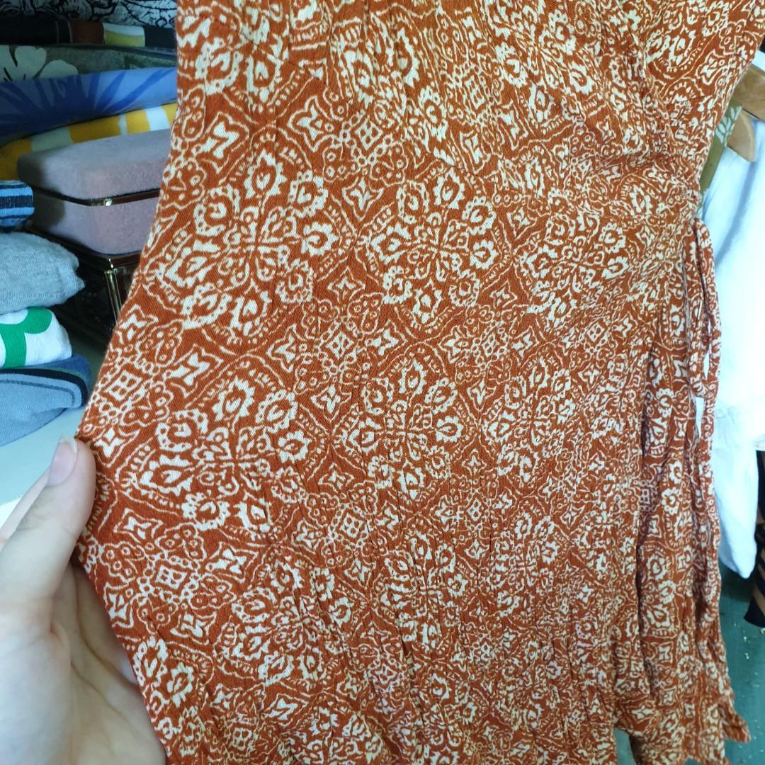 Orange boho pattern wrap dress