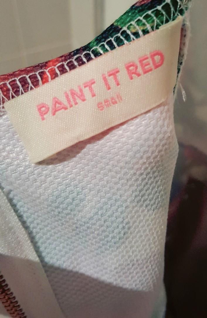 'Paint it Red' Floral Halter Neck Summer Dress (Size S)