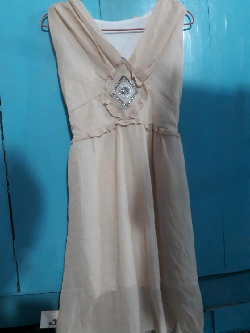 Peach deep neck dress