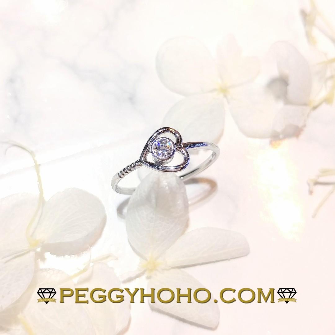【Peggyhoho】全新14K白金 ((單粒10份))真鑽石戒指|抵戴之選|心形系列 HK11.5