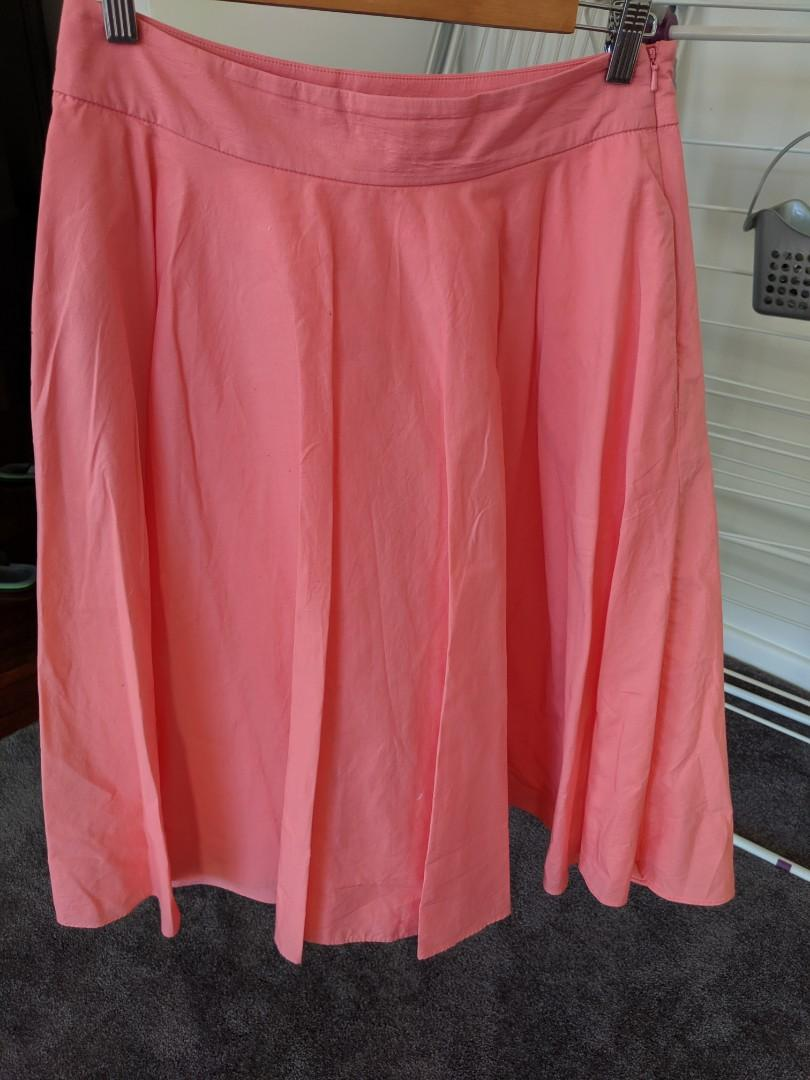 Pink knee length a line cotton skirt