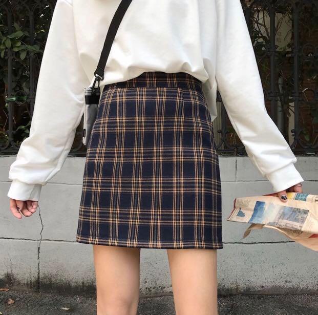 PO : ulzzang checkered skirt 🏁