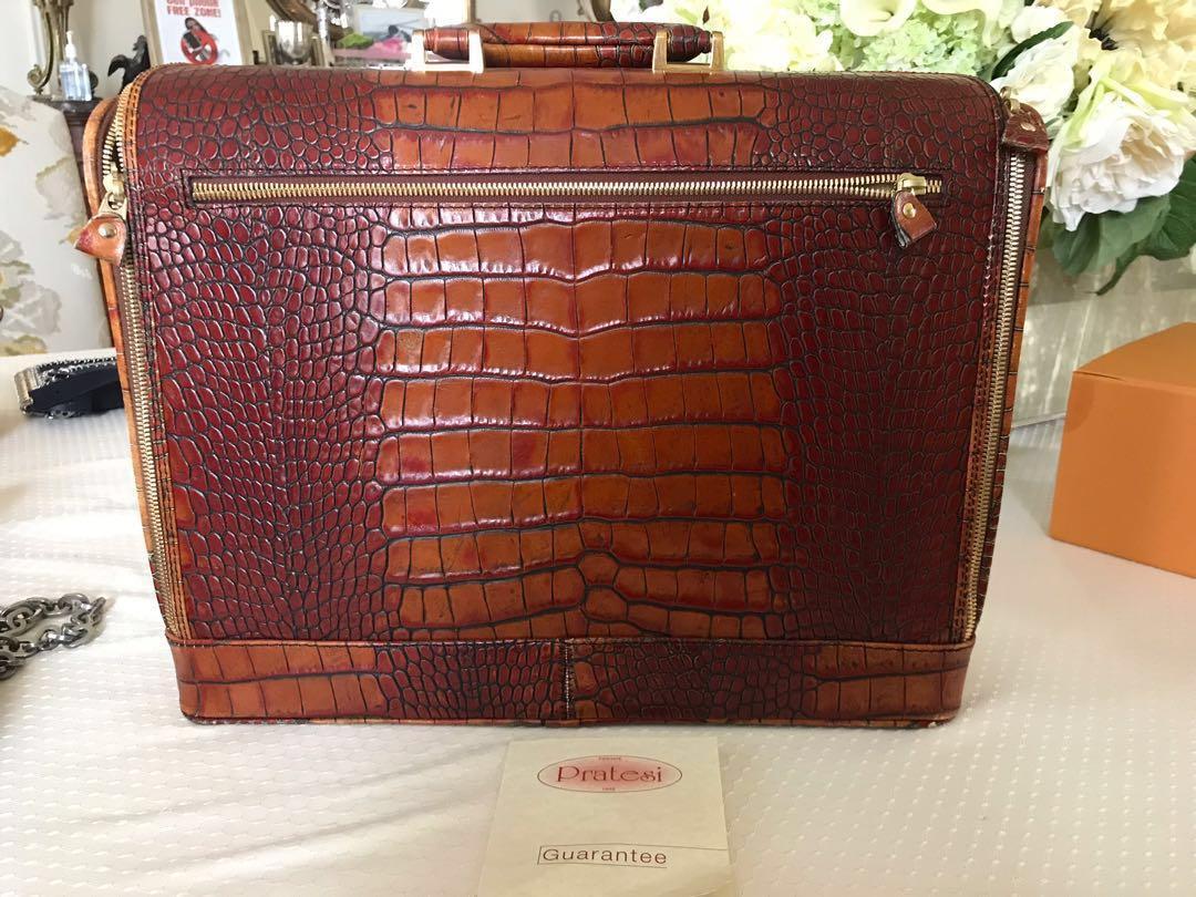 PRATESI ladies brown crock leather, with keyboard booklet breifcase