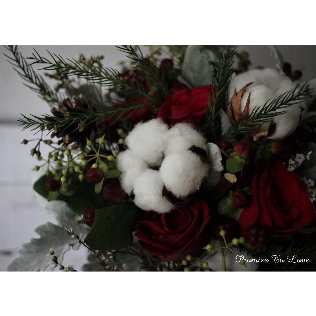 Rustic Dried Cotton & Fresh Flowers Bridal Bouquet (Wedding / ROM/ Bridesmaid / Proposal/ Anniversary/Birthday)
