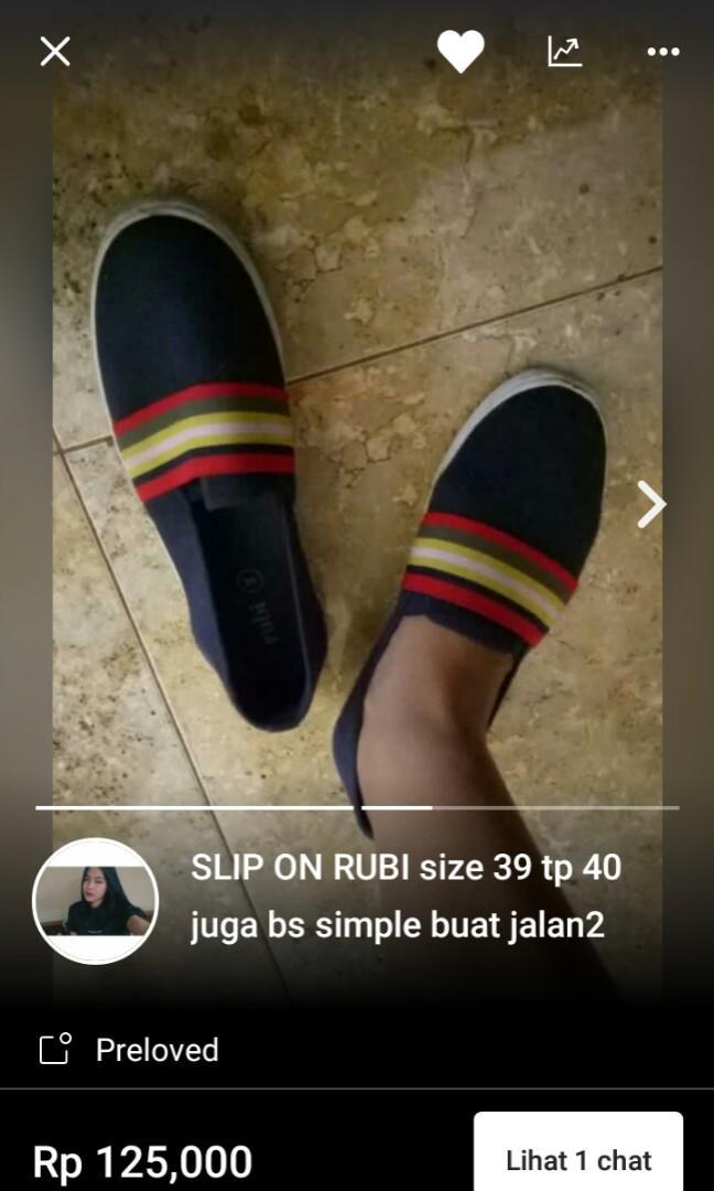 Sepatu rubi slipon cewe size 39/40