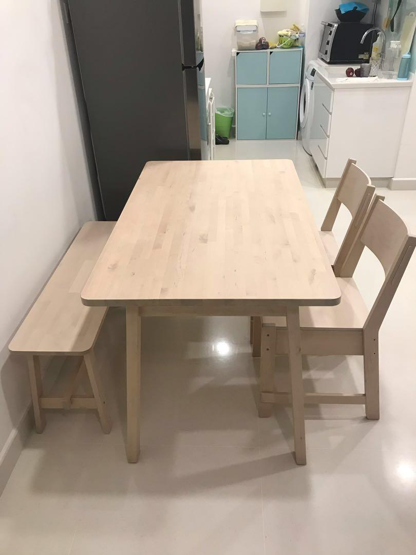Ikea Norraker Solid Wood Dining Table And Chairs Set Furniture Tables Chairs On Carousell