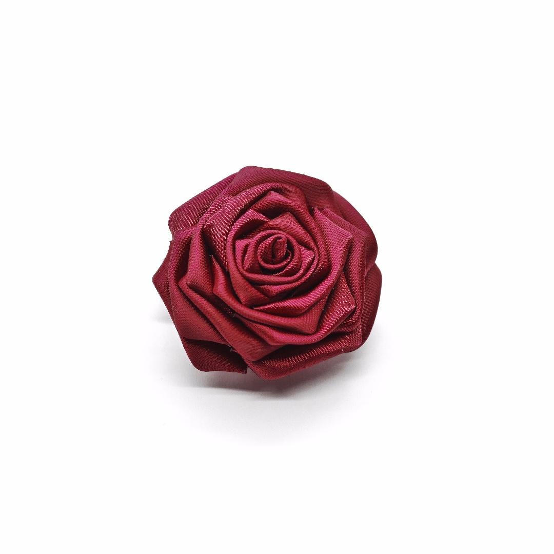Tsumami kanzashi rose in berry fuchsia, Traditional Japanese hair accessory