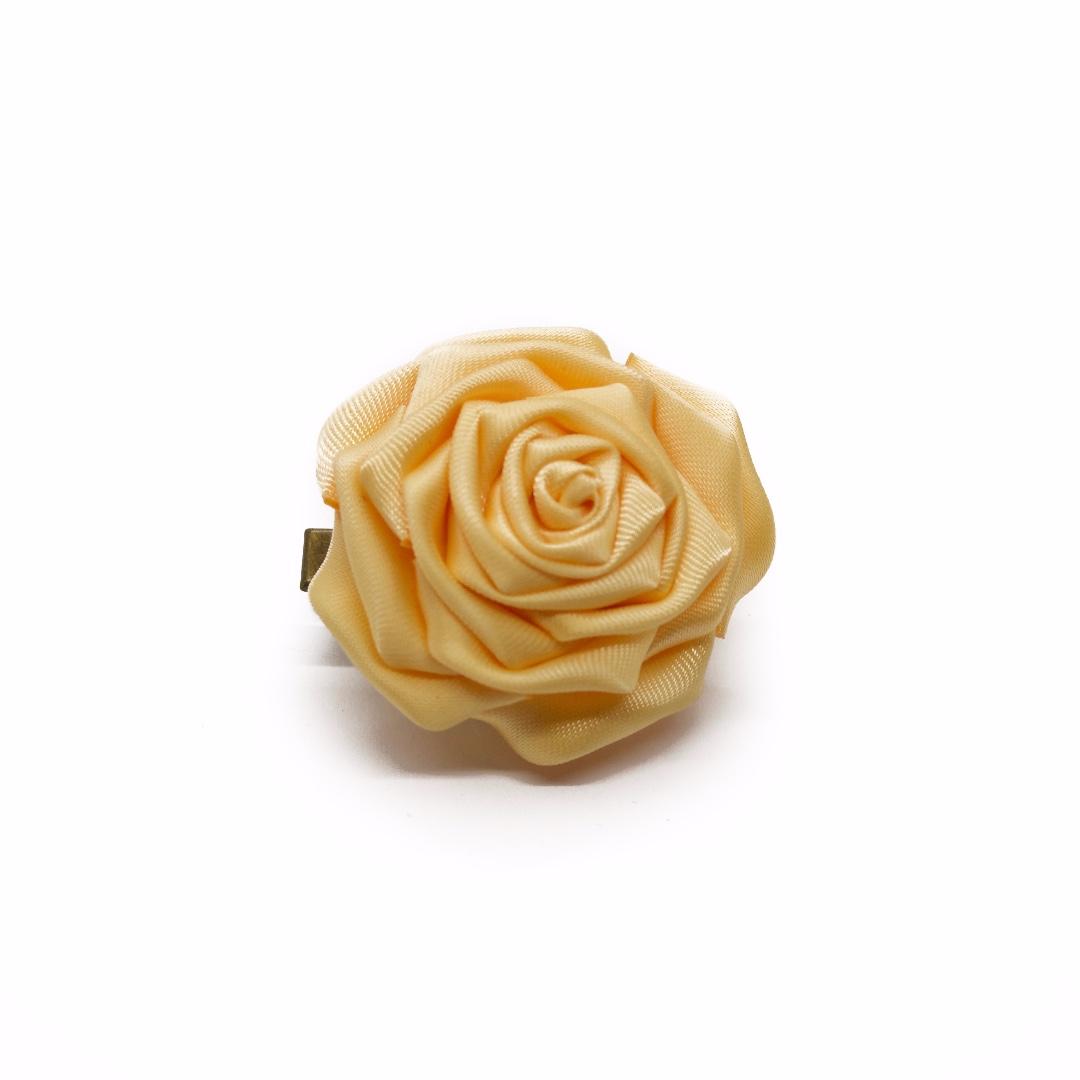 Tsumami kanzashi rose in canary yellow, Traditional Japanese hair accessory