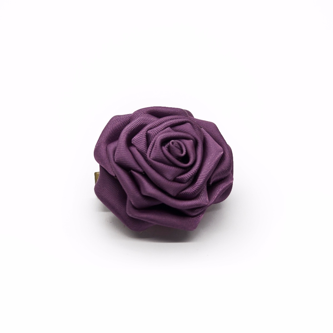 Tsumami kanzashi rose in grape purple, Traditional Japanese hair accessory