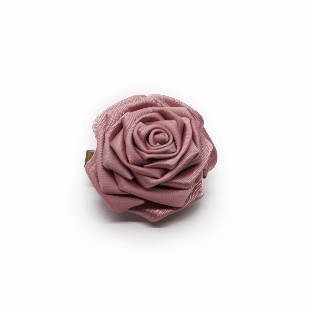 Tsumami kanzashi rose in mulberry purple, Traditional Japanese hair accessory