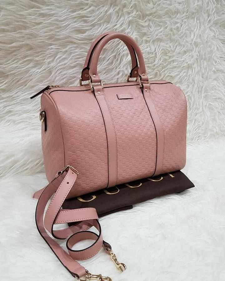 VGC Gucci soft pink leather  GG  Guccissima  Boston bag satchel  + strap ,db, booklet ,32x21x17