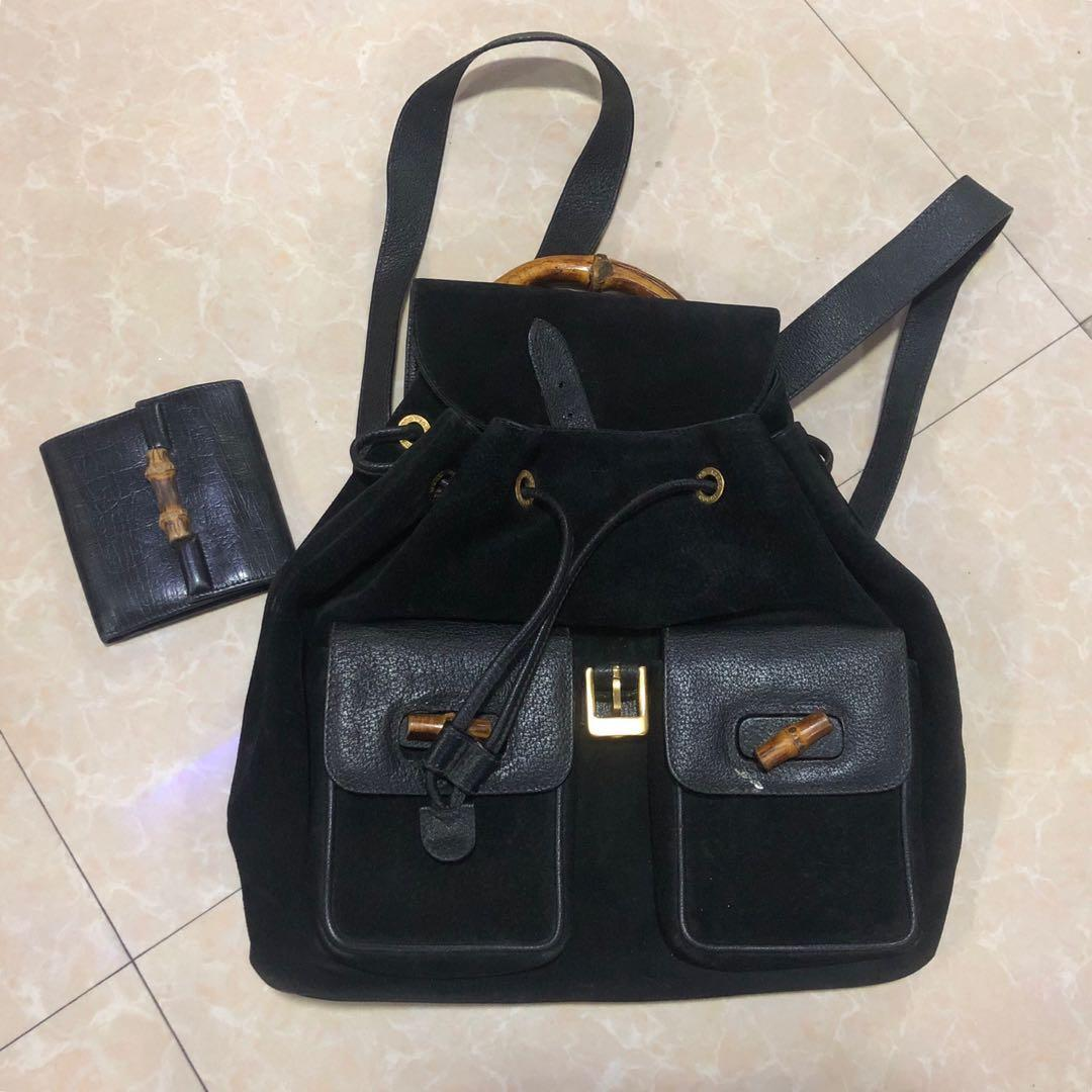 ae2d659a37b476 Vintage gucci Bamboo black suede and leather backpack & Gucci black leather  classic flap bamboo wallet on Carousell