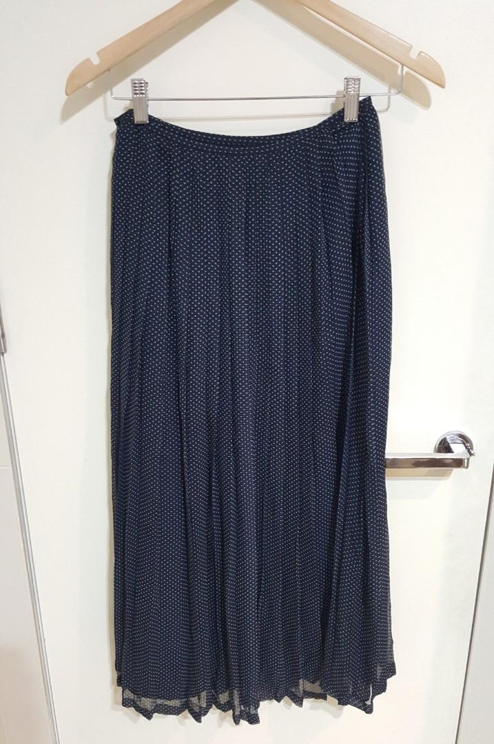 Vintage Navy Pleated Below the Knee Polka Dot Skirt (Size 2 or Size AU6)