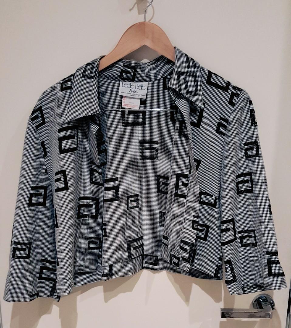 Vintage Oversized Grey Patterned Opened Crop Shirt (Vintage size 16, Oversized on a size S)