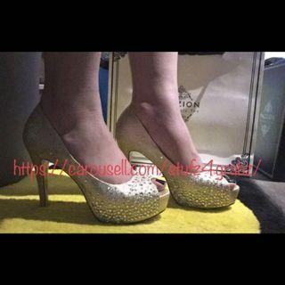 Pazzion Gold Heels 653-28 Glitter Shimmer Almond Size 39