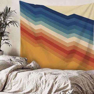 小預算佈置術彩色線條北歐裝飾牆壁掛布壁畫直播背景微裝潢