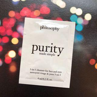 HK$3/ 包/ 6ml (有1包) Philosophy purity made simple 3-in-1 cleanser for face and eyes 三合一潔面乳-適合面部及眼部肌膚 sample 試用裝