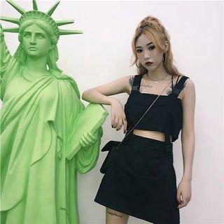 [PO] Korean summer style black strap top with skirt