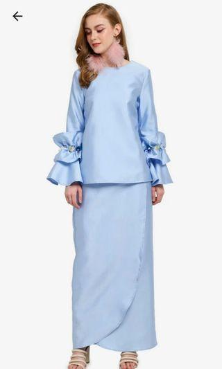 Lubna Paperbag Sleeves Top with Tulip Skirt