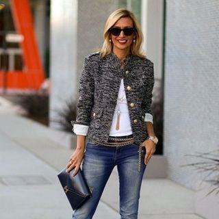 tweed jacket + jeans