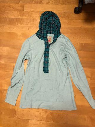 Free People Pale Green top with checked hood