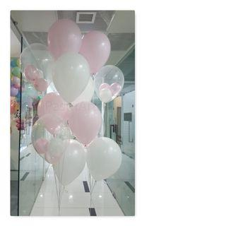 """Cluster Of 6 x 12"""" Latex Balloons (Pink And White Theme)"""