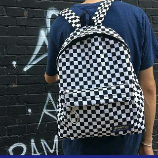 Travel Big Vintage Street Japan Korean Canvas Checkerboard Plaid Backpacks Student School Men Women Bag Buckle Zipper