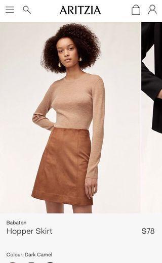 Aritzia Brand new with tag hopper skirt in dark camel