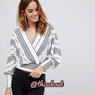 BNIB ASOS Striped Batwing Plunge Top in White