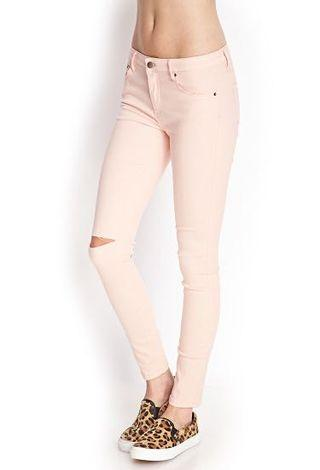 FOREVER21 Light Pink High Waisted Ripped Jeans