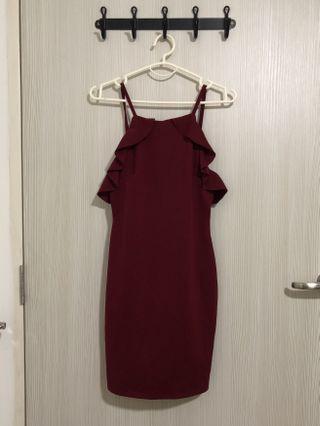Maroon Ruffle Dress