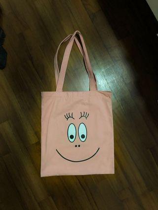 Pink Smiley Canvas Tote Bag