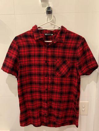 Slim Red Flannel Shirt