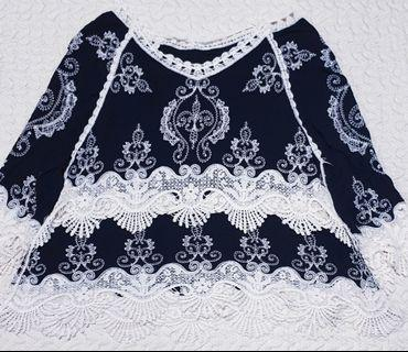 🚚 New black & white lace and knitted top (Urgently selling)