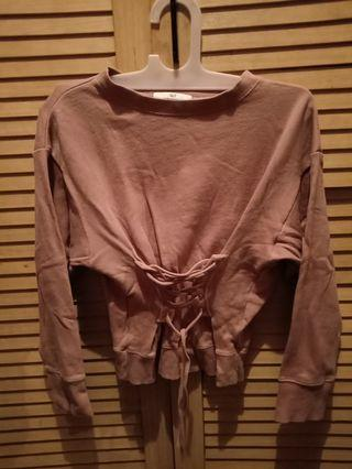 Nude crop sweater