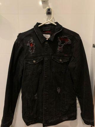 Black Ripped with Red Flannel Denim Jacket