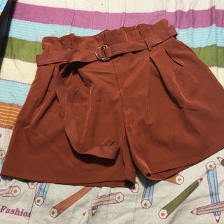 [PLUS SIZE] brick red/rust paperbag shorts