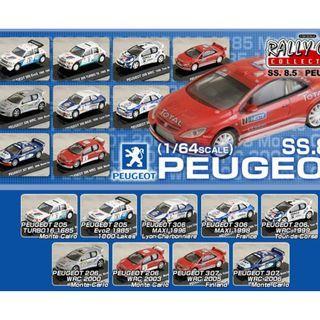 RALLY CAR COLLECTION SS.8.5 Peugeot 標緻 模型車 一盒12款 CM'S