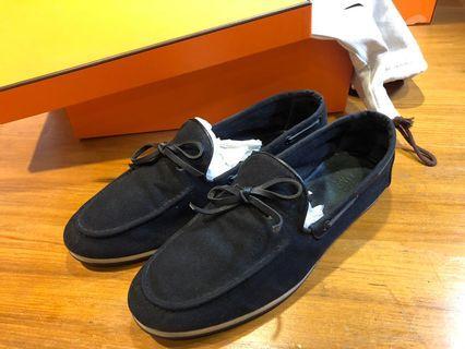 Hermès 男帆布休閒鞋42.5 懶人鞋 適合球鞋US9.5-10 鞋底紋路清晰 狀況佳