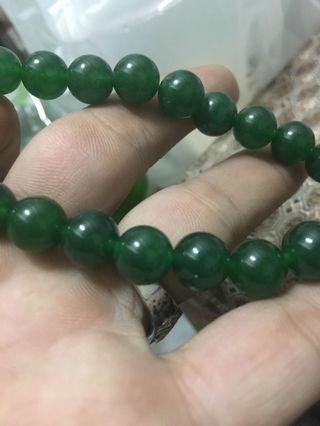 天然無加工的綠色冰手珠10mm
