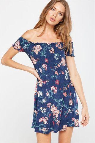 Cotton On Blue Floral Off Shoulder Dress
