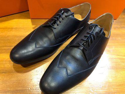 HERMÈS 男真皮皮鞋 黑色 41 適合球鞋穿US9-9.5 少穿 狀況優 台灣公司貨