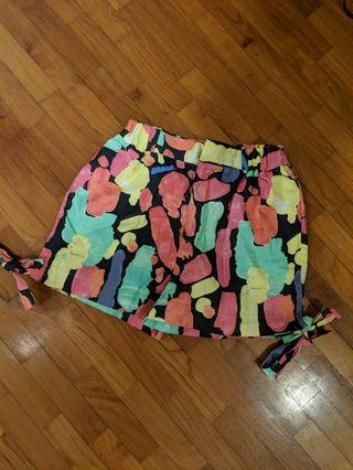 Printed patch shorts