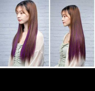 (ALL Real PIC!)Instock light brown to purple dip dyed two tone gradient clip on straight hair extension * brand new in package* chat to buy if int